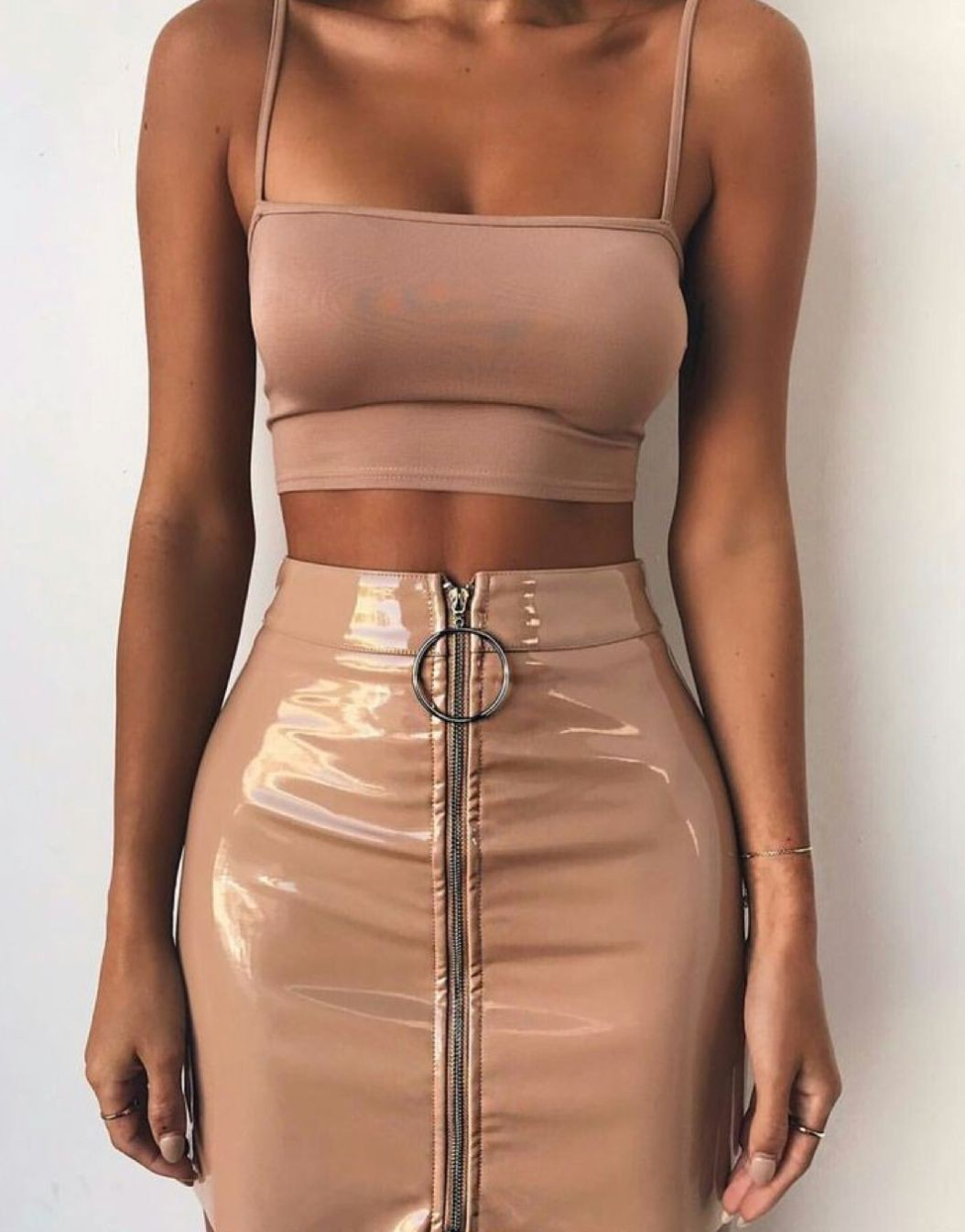 Aesthetic rose gold clothes, cocktail dress, crop top