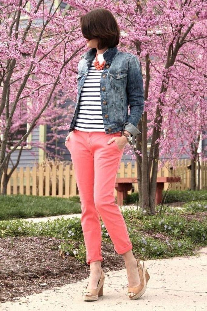 Denim jacket snd pink pants