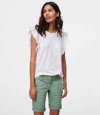 Outfit ideas loft bermuda shorts, cotton bermuda, bermuda shorts, white bermuda, t shirt