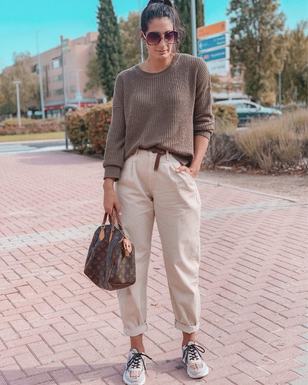 Beige and brown colour dress with sportswear, mom jeans, trousers