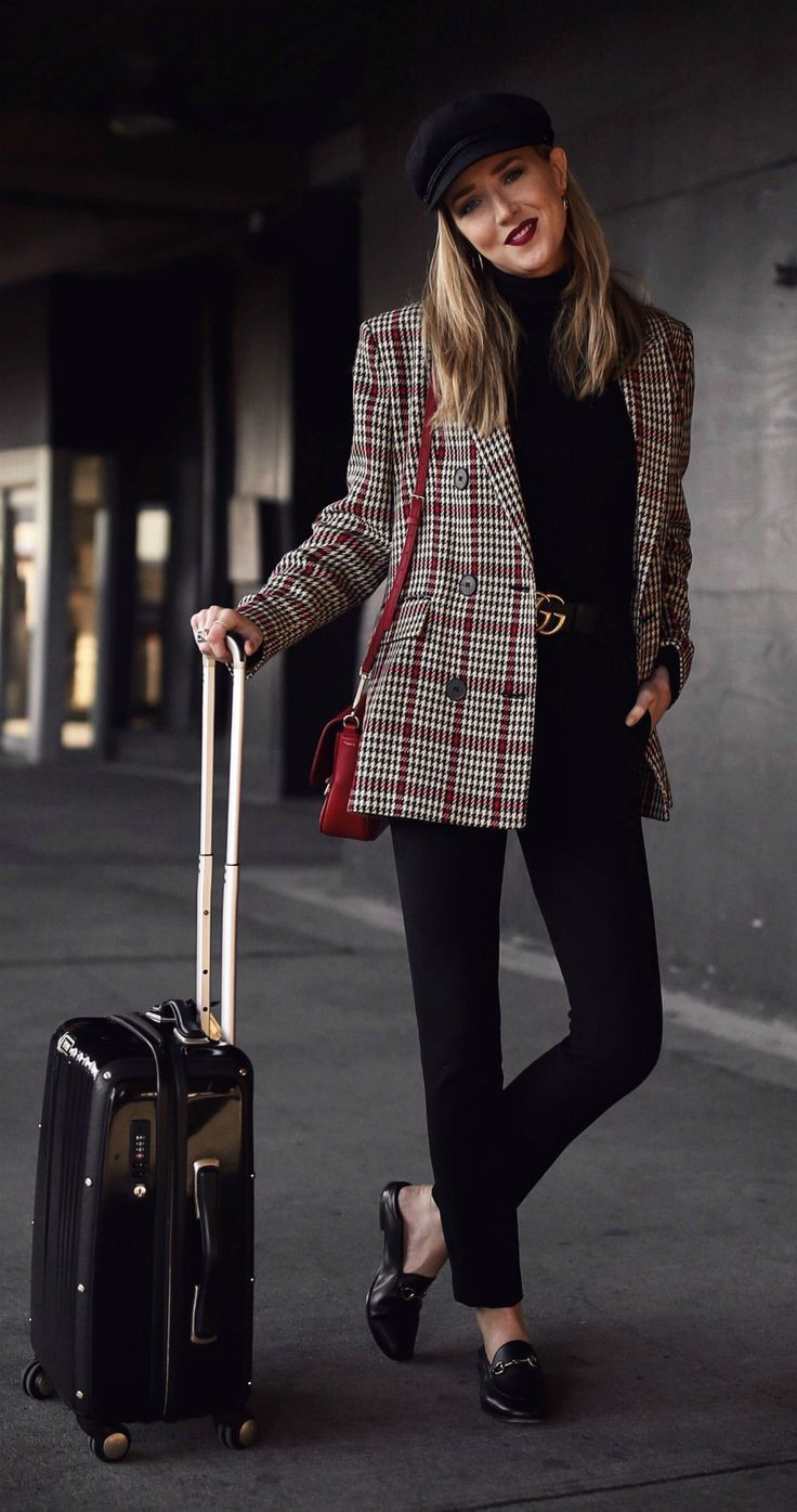 Outfit ideas oversized plaid blazer, double breasted, street fashion, polo neck