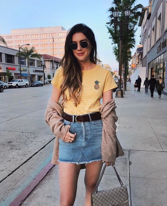 Colour outfit, you must try summer outfits women, street fashion, casual wear, denim skirt, t shirt