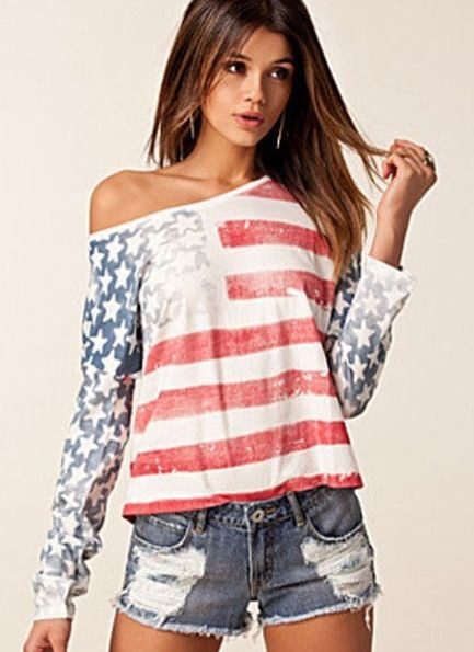 Girl in american flag shirt