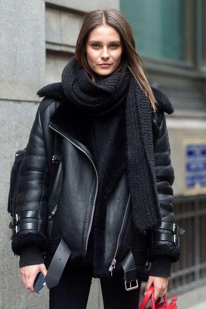 Acne shearling leather jacket, shearling coat, leather jacket, street fashion, flight jacket, ac ...
