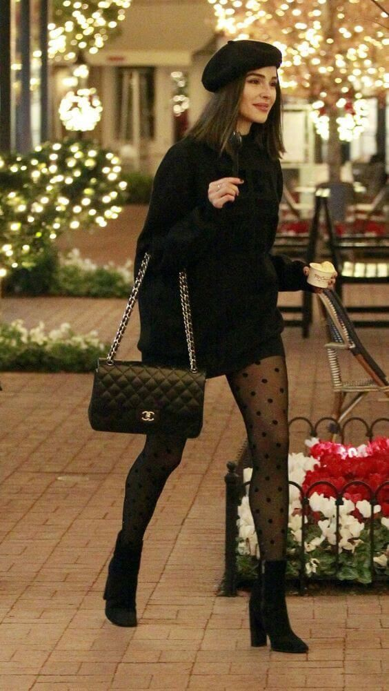 All black outfit women winter