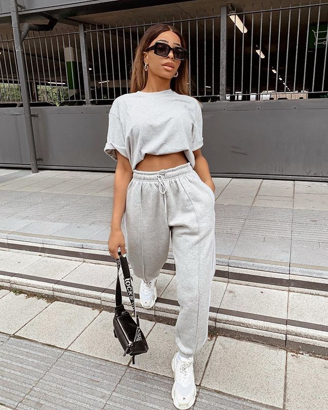 Pretty little thing jogger, street fashion, casual wear, crop top, t shirt
