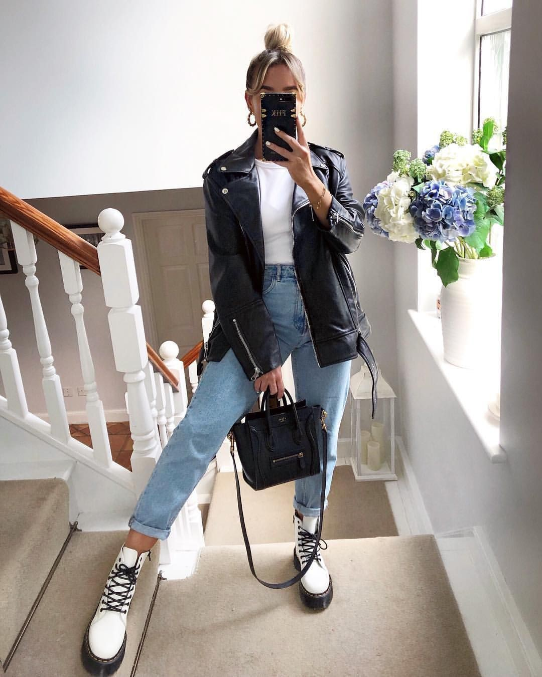 White colour outfit with leather jacket, jacket, jeans