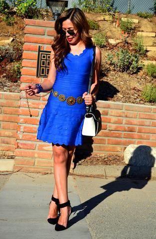 Electric blue and cobalt blue colour outfit ideas 2020 with little black dress, cocktail dress,  ...