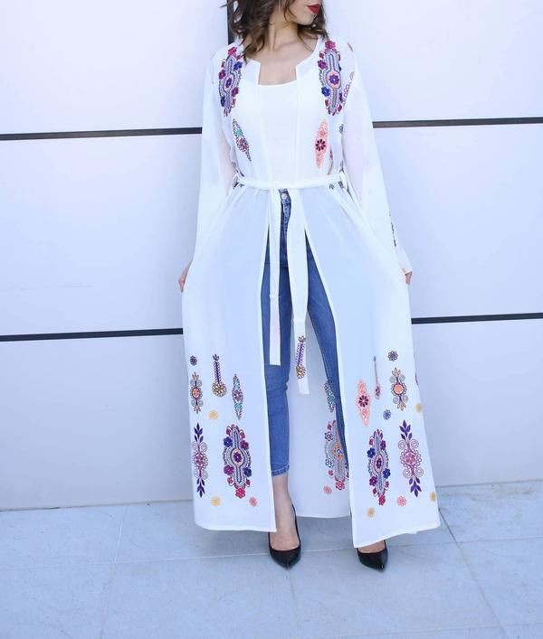 White colour outfit ideas 2020 with embroidery, trousers