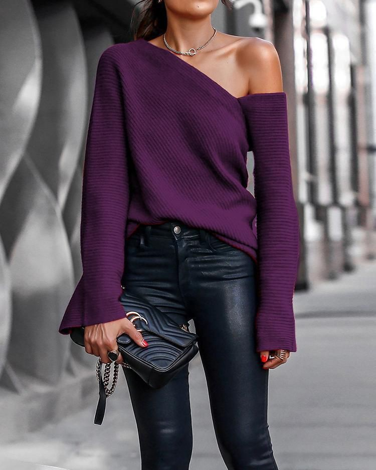 Purple colour outfit, you must try with bell sleeve, blouse, jeans