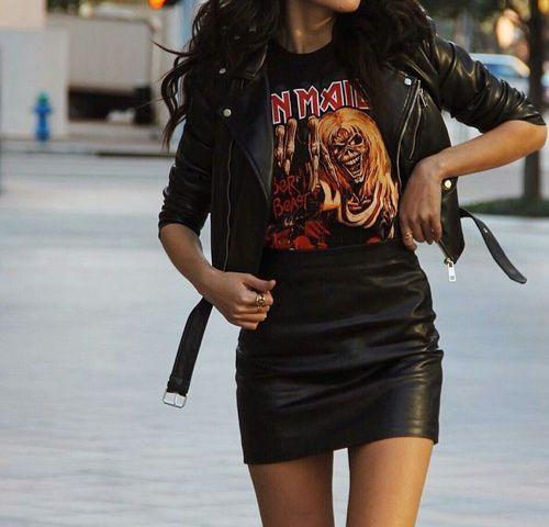 Black clothing ideas with leather jacket, miniskirt, leather