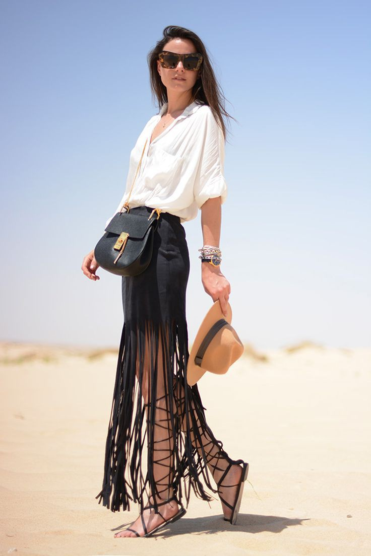 Long fringe skirt outfit, street fashion, fashion model, formal wear