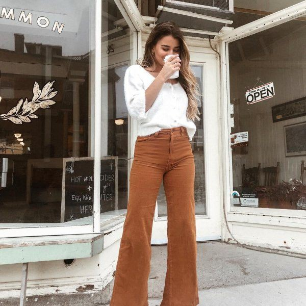 Corduroy flare pants outfit, street fashion, bell bottoms