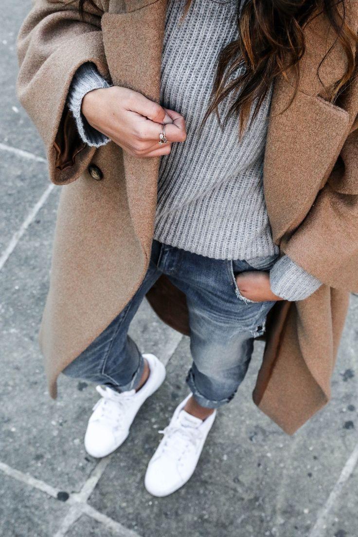 Look manteau camel femme, street fashion, casual wear, polo coat