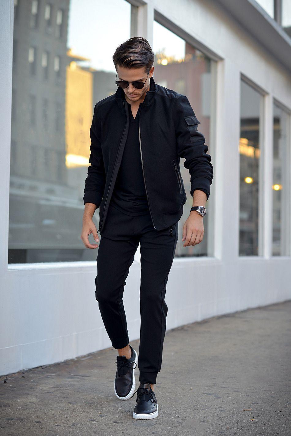 Trendy clothing ideas black style men, leather jacket, street fashion, flight jacket, casual wear