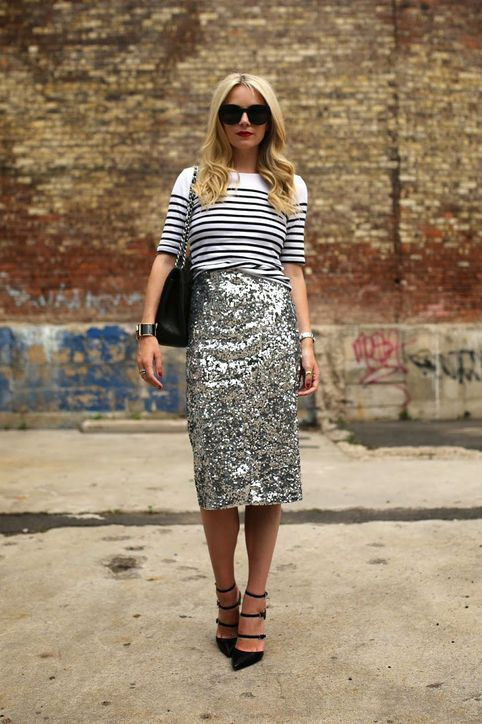 Sequin skirt outfit ideas black and white, street fashion