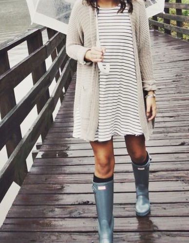 Hot rainy day outfits knee high boot, wellington boot