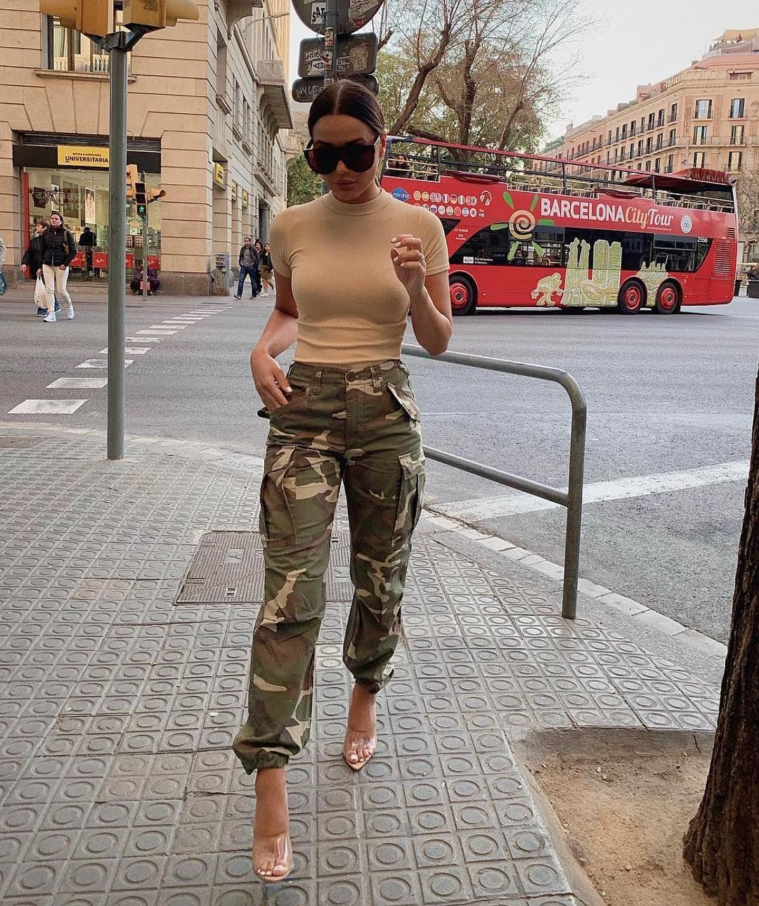 Baddie camo pants outfit slim fit pants, military camouflage