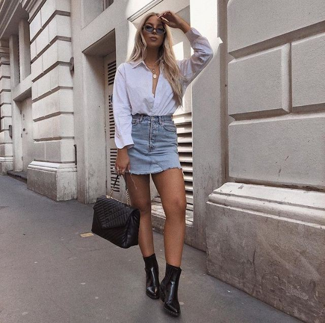 White vogue ideas with denim skirt, shorts, jeans