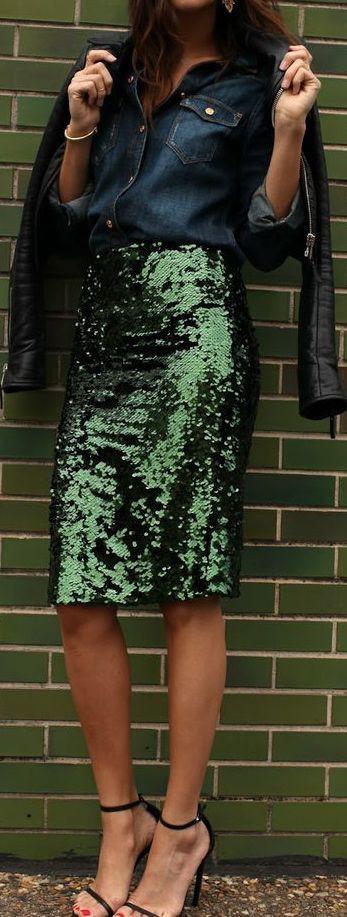 Outfit ideas green sequin skirt, cocktail dress, pencil skirt