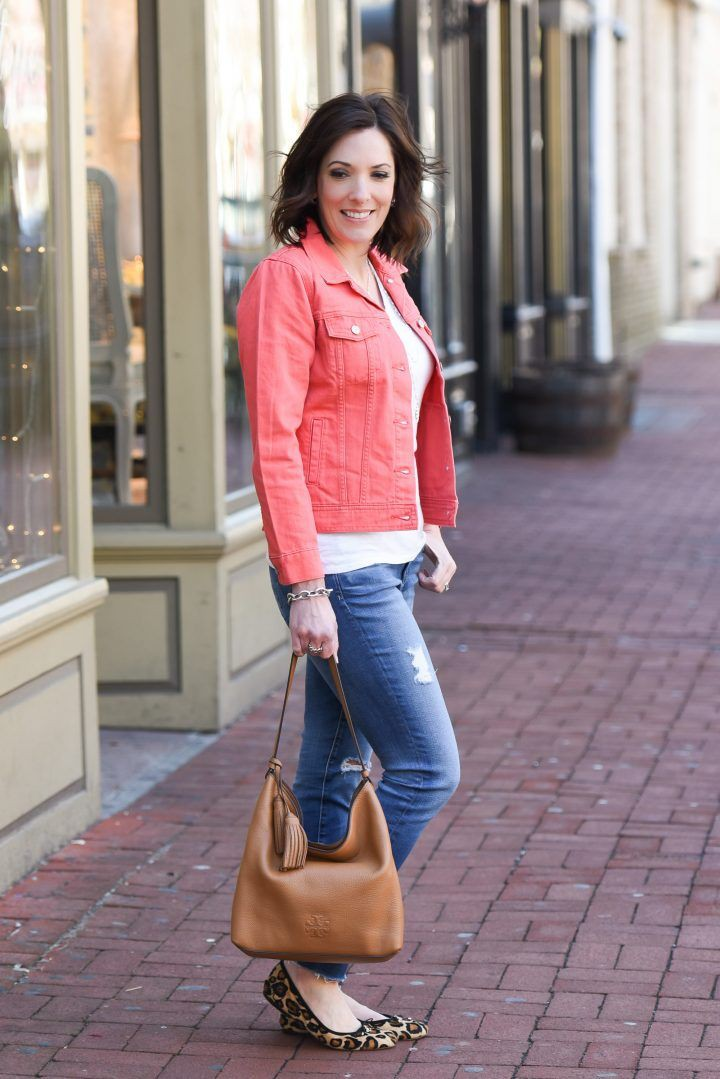 Brown and pink outfit ideas with jean jacket, jacket, blazer