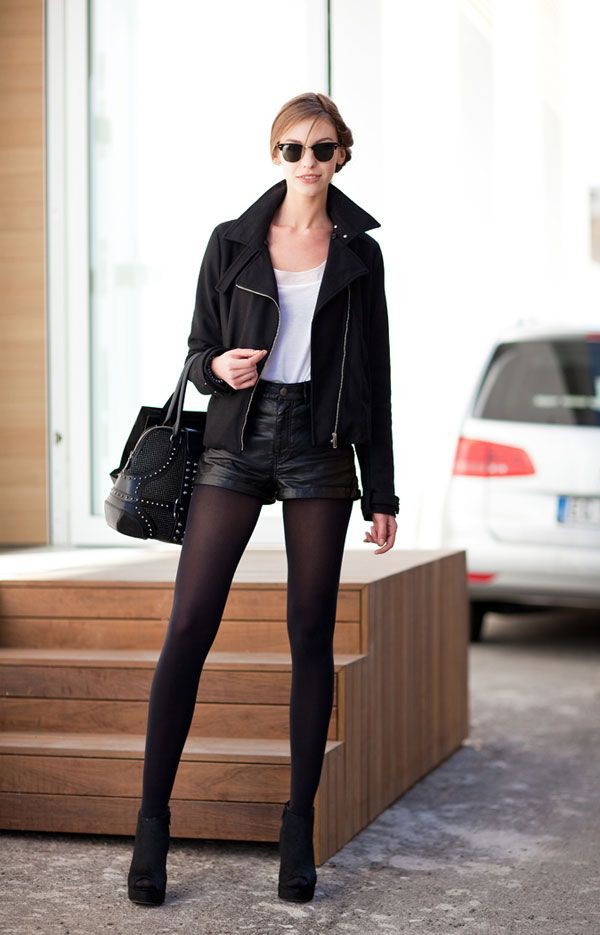 Leather shorts with tights outfit