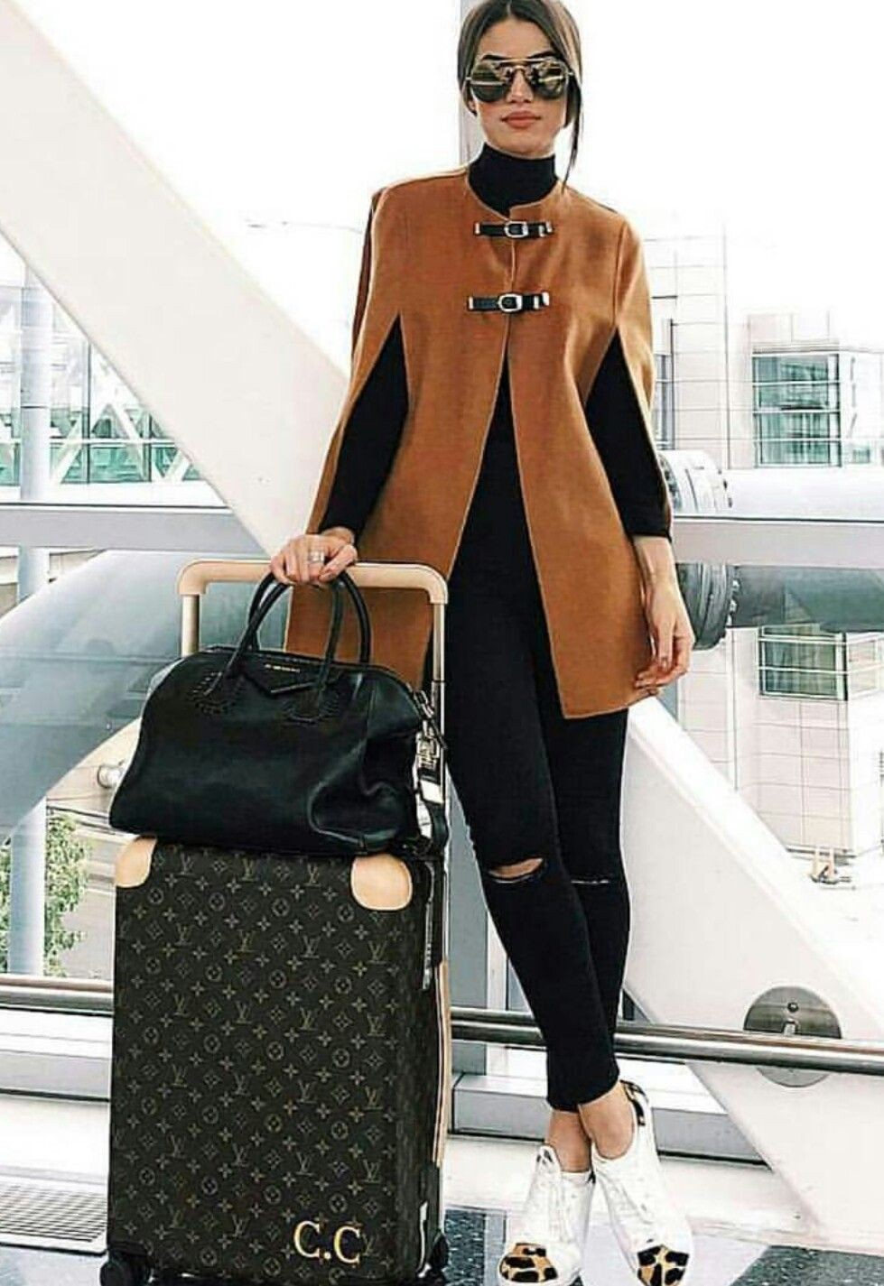 Brown and black cute collections with fashion accessory, trousers, overcoat