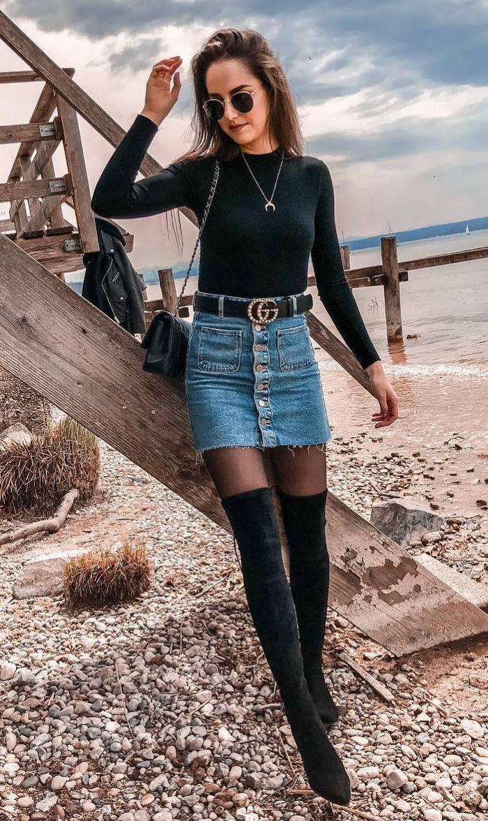 Denim skirt with knee high boots