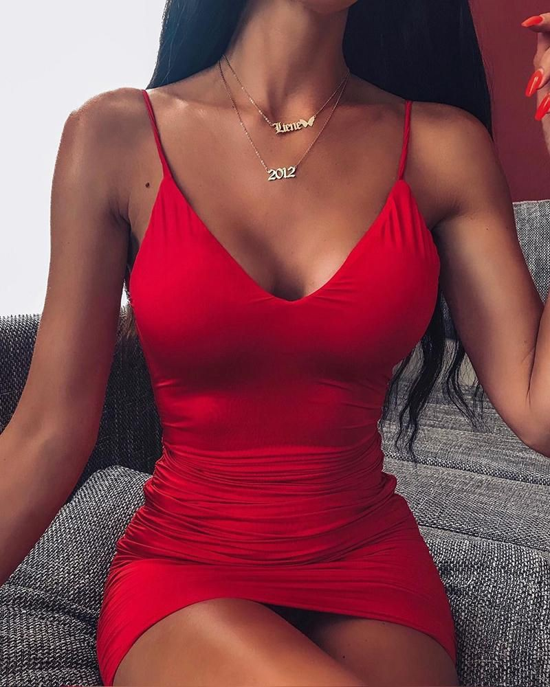 Scoop neck bodycon dress one piece swimsuit, spaghetti strap