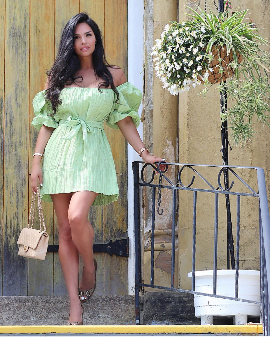 Yellow and green cocktail dress, sexy legs