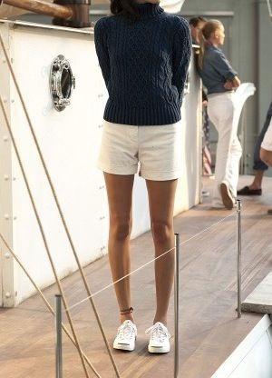 White lookbook dress with blazer, shorts, jeans