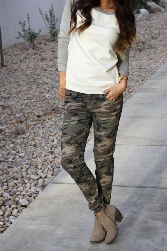 Camo pants with ankle boots