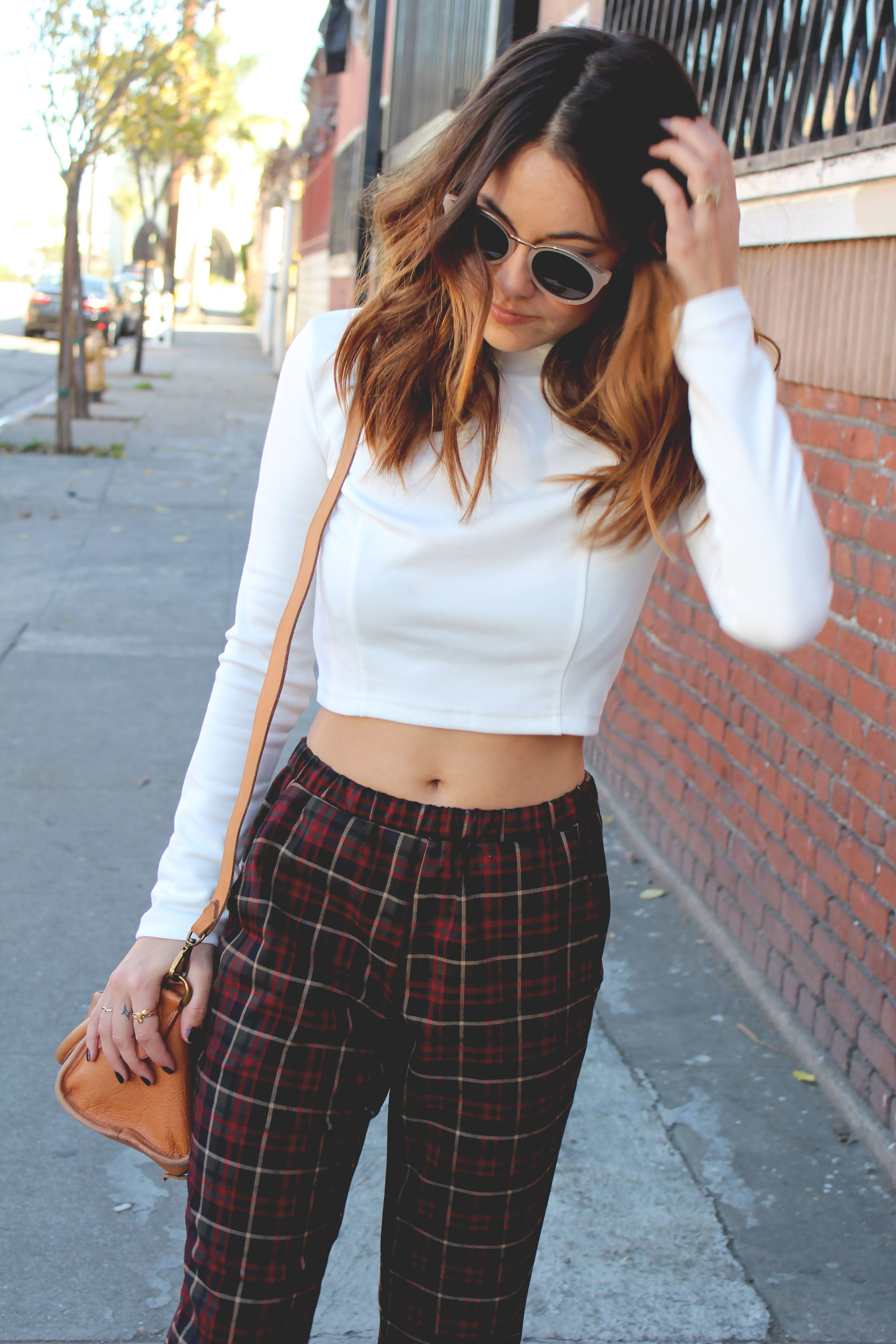 Cropped plaid pants outfit, street fashion, capri pants, casual wear, polo neck, crop top