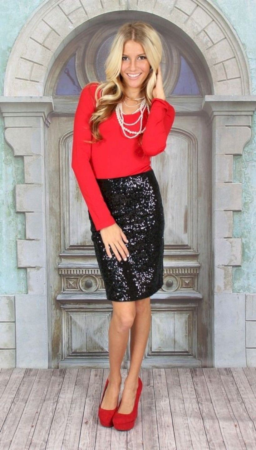 Black pencil skirt christmas outfit