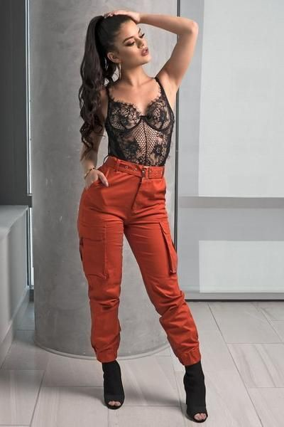 Cargo pants with lace bodysuit