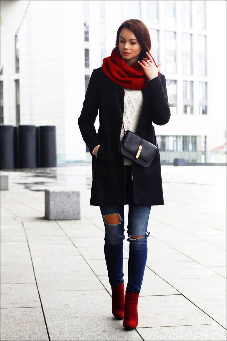 Black and red colour outfit ideas 2020 with fashion accessory, jeans, coat