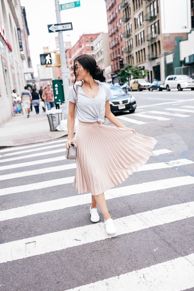 White and pink outfit ideas with polka dot, skirt