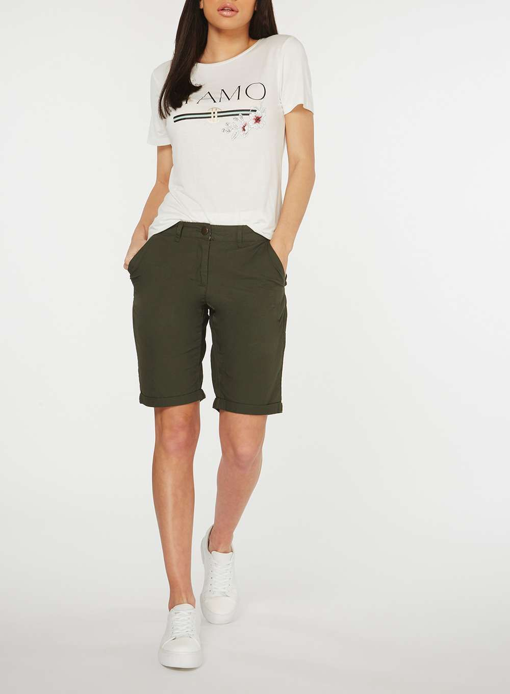 White and khaki colour outfit, you must try with bermuda shorts, trousers, shorts
