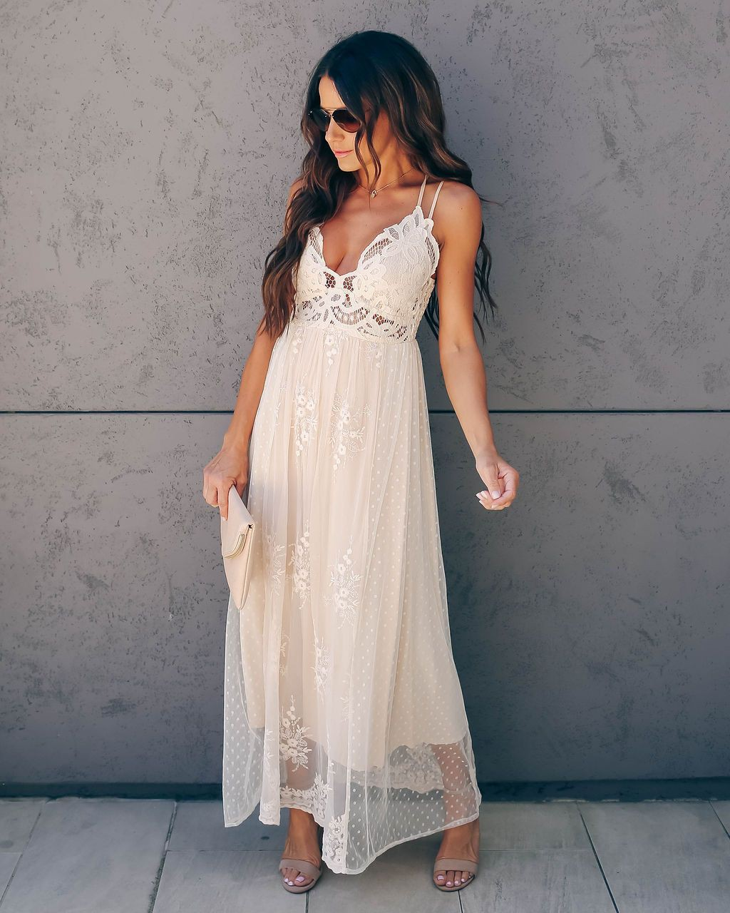 Vici exclusively yours lace mixed fabric maxi dress