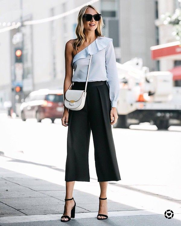 Style outfit culotte mit highheels high heeled shoe, black and white