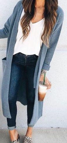 Light blue cardigan sweater outfit ideas
