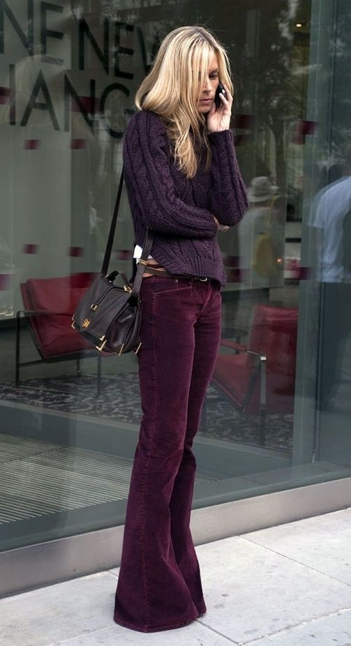 Outfit style style corduroy pants, street fashion, bell bottoms