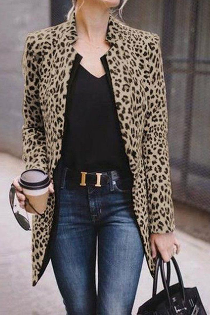 Leopard coat office outfit, street fashion, animal print, dress shirt, suit jacket, casual wear