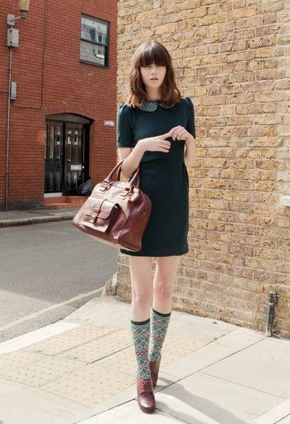 Knee high socks 60s peter pan collar, street fashion