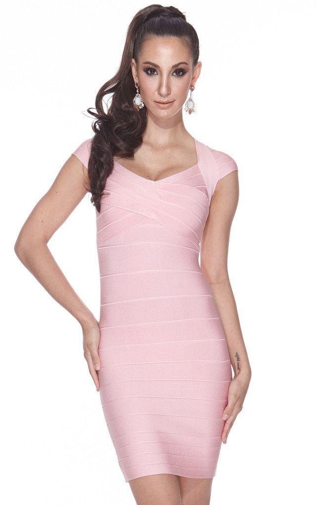 Pink bodycon bandage dress short sleeve