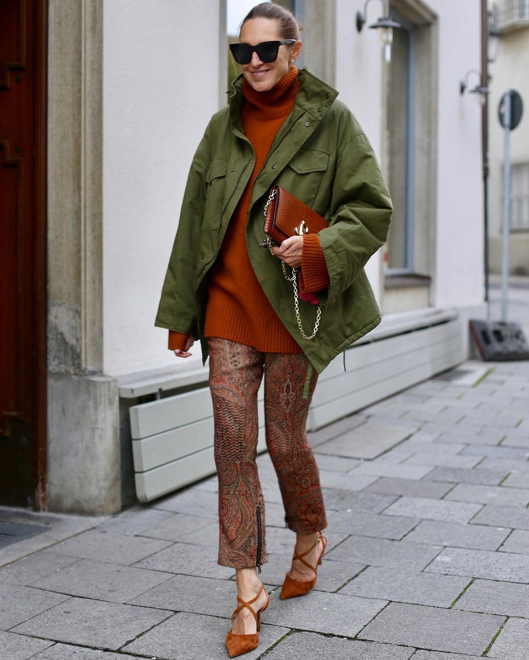 Orange and brown colour dress with trousers, shorts, jacket