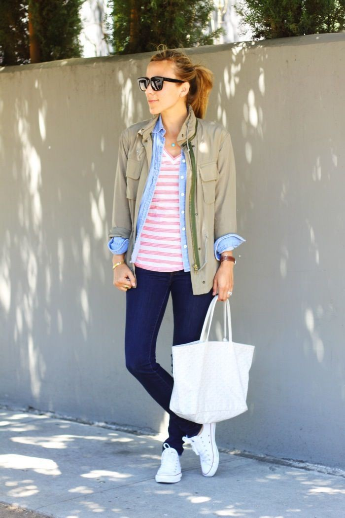White and pink clothing ideas with blazer, tights, denim