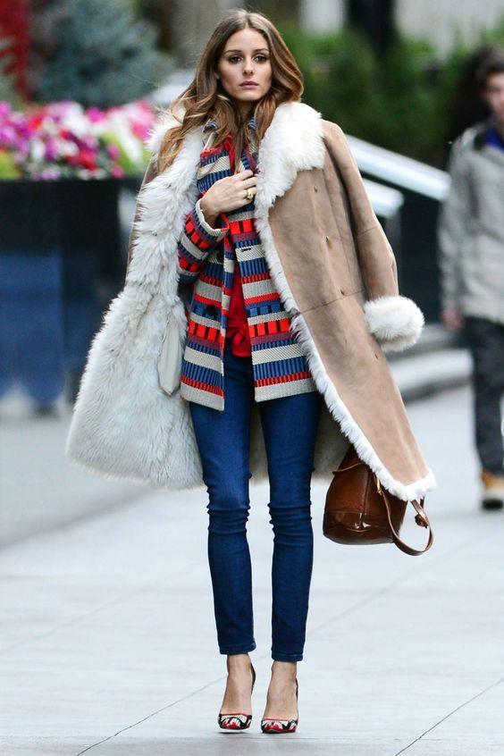 Colour combination shearling coat outfit, winter clothing, shearling coat, street fashion, fashi ...