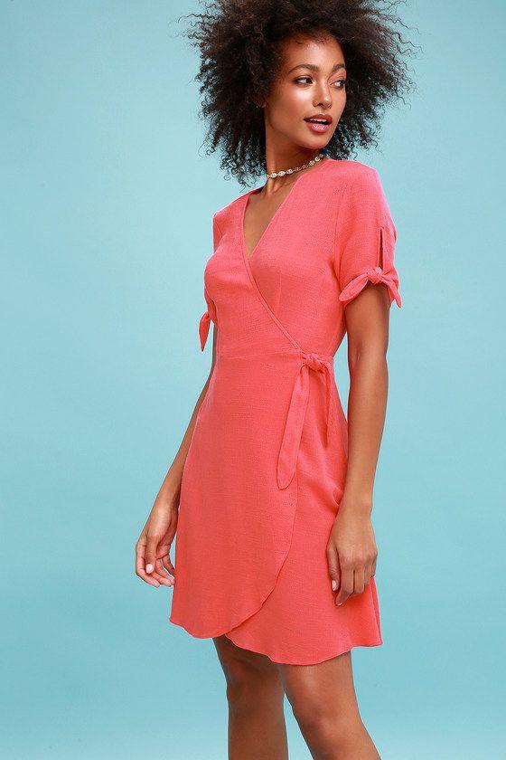 Vestido verão coral, fashion design, cocktail dress, fashion model, woven fabric, wrap dress, da ...