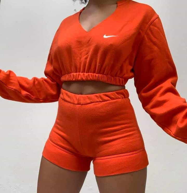 Orange and red outfit Pinterest with sportswear, shorts, hoodie